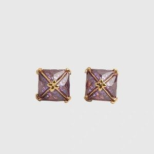 Henri Bendel Pryamid Stud Earrings Lavender